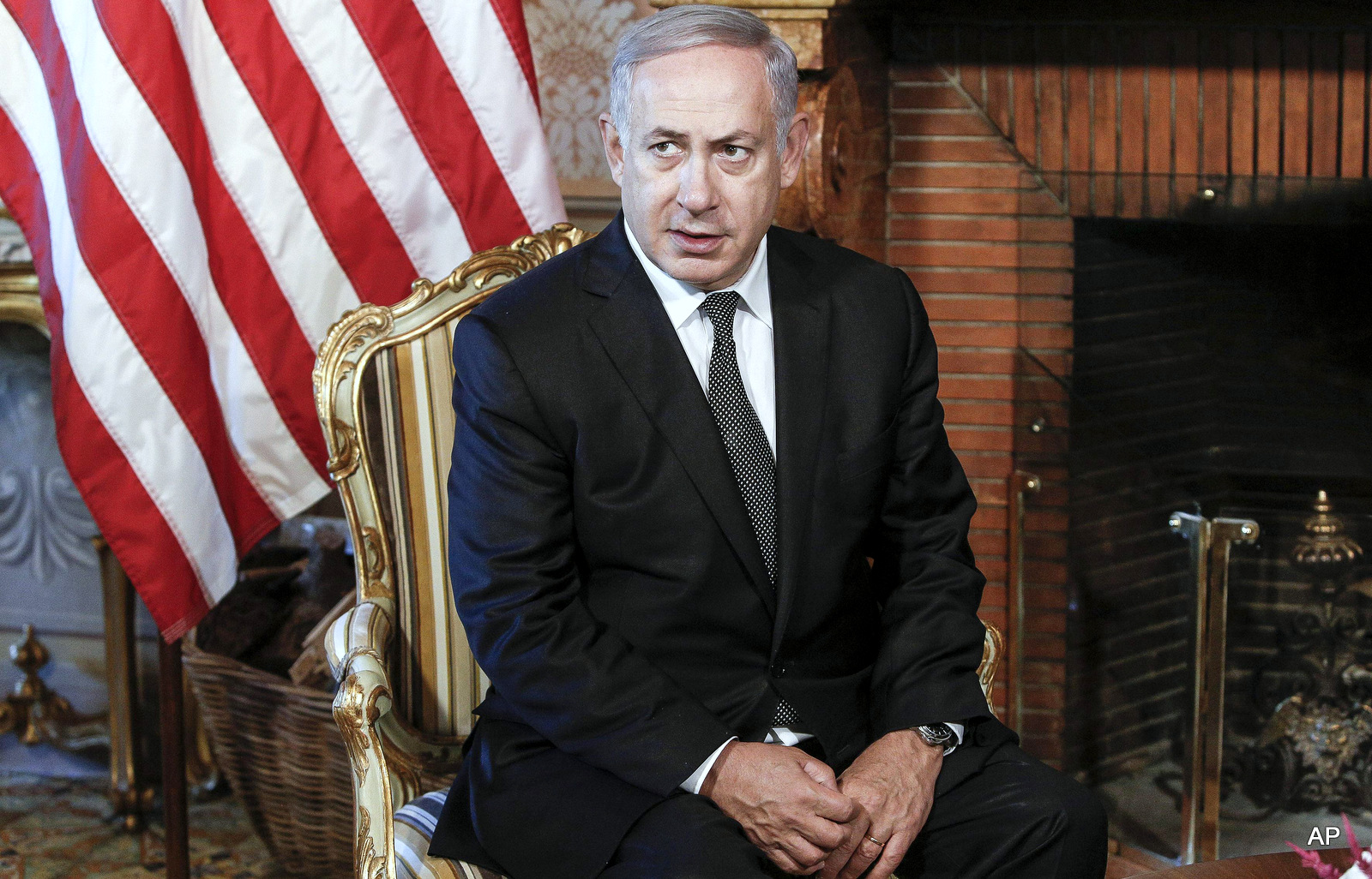 Israeli premier Benjamin Netanyahu is portrayed during his meeting with U.S. Secretary of State John Kerry at Villa Taverna, U.S. Embassy, in Rome, Italy, Monday, June 27, 2016. (Giuseppe Lami/ANSA pool via AP)