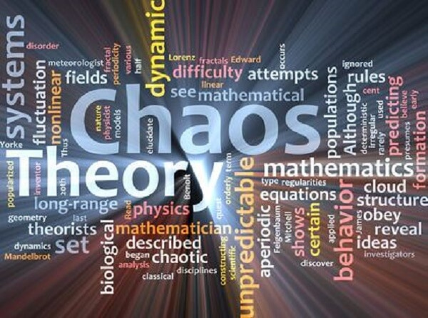 Chaos theory word cloud glowing