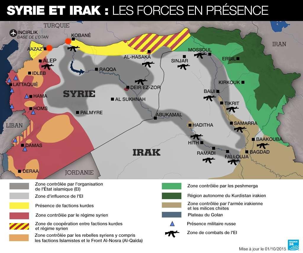 carte syrie irak