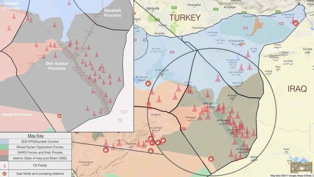 carte - syrie controle pétrole