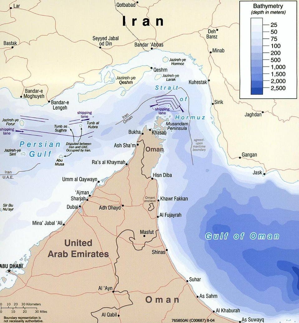 Les options anglosionistes d'attaque contre l'Iran dans - ECLAIRAGE - REFLEXION iran-Strait_of_hormuz_bathymetry